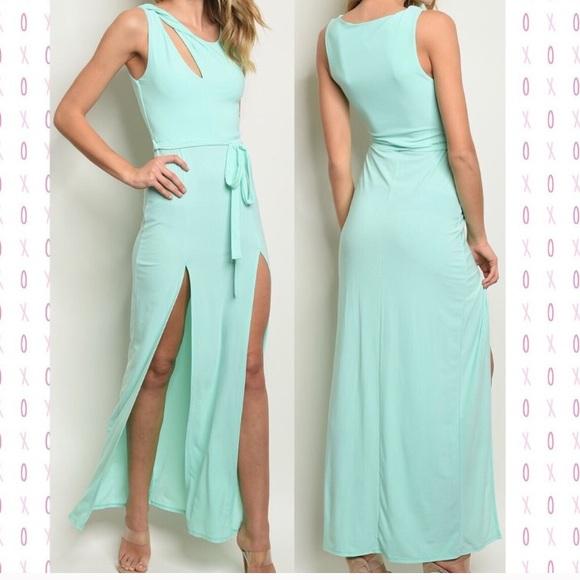 Dresses & Skirts - Mint color maxi dress with slits NWOT